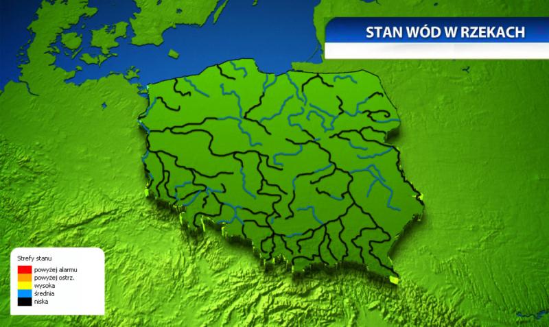 Stan wód w rzekach, dane IMGW (TVN Meteo)