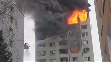 Potężny wybuch gazu i pożar w bloku na Słowacji. Nie żyje pięć osób [WIDEO]