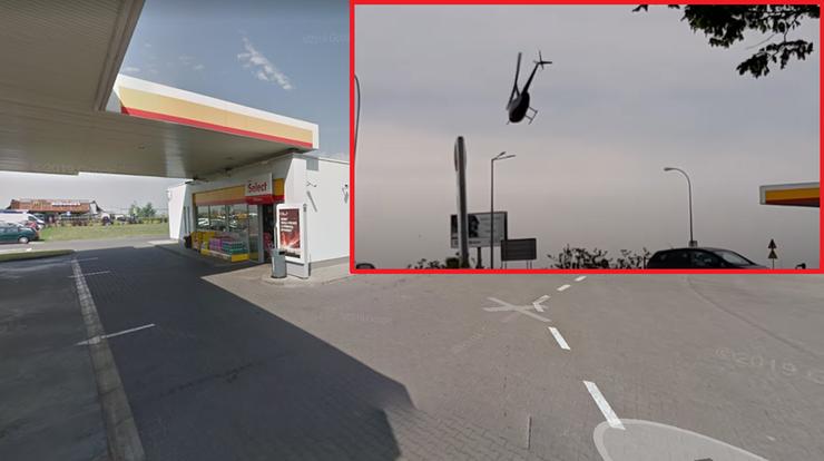 Wylądował śmigłowcem na stacji benzynowej. Teraz policja wyjaśnia okoliczności