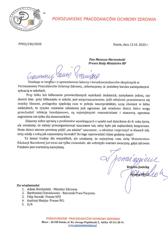 Apel PPOZ do premiera Mateusza Morawieckiego