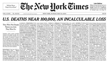 """Pierwsza strona """"NYT"""" cała w nazwiskach ofiar Covid-19. Wśród nich Polak"""