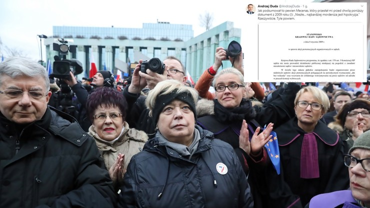 """Prezydent publikuje stanowisko KRS z 2009 r. """"Najbardziej mordercza jest hipokryzja"""""""