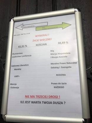 Taki plakat zawisł na drzwiach kościoła w Kościanie