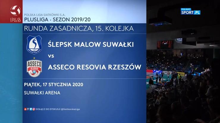 PlusLiga: Ślepsk Suwałki - Asseco Resovia 3:1. Skrót meczu