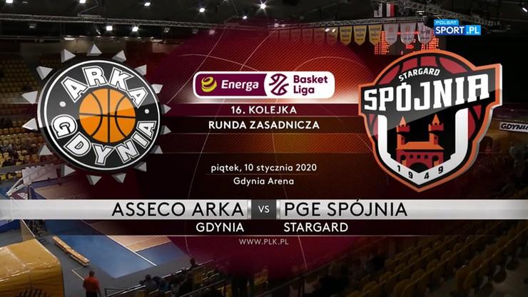 Asseco Arka Gdynia - PGE Spójnia Stargard 82:97. Skrót meczu