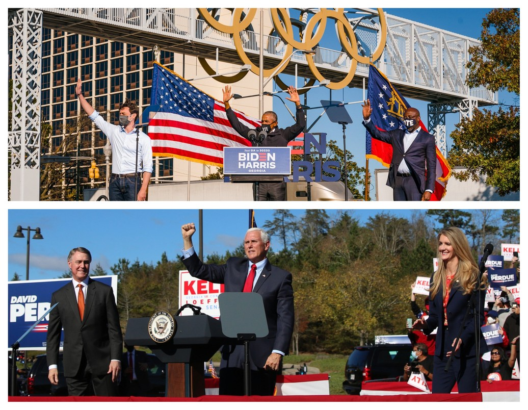 Zarówno Demokraci jak i Republikanie wykorzystują rozpoznawalnych krajowych polityków w walce wyborczej. U góry Jon Ossoff (z lewej) i Raphael Warnock (z prawej) na wiecu z byłym prezydentem Barackiem Obamą. Na dole David Perdue i Kelly Loeffler z wiceprezydentem Mike'm Pencem.