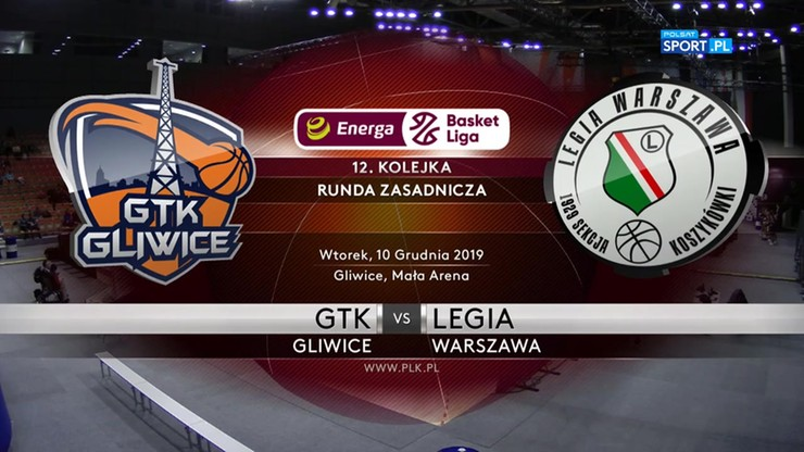 GTK Gliwice - Legia Warszawa 95:94 po dogrywce. Skrót meczu
