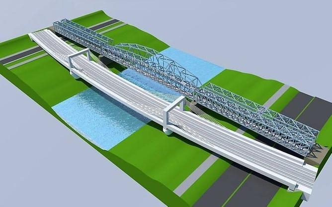 Tak ma wyglądać nowy most kolejowy w Przemyślu (na dole). Starsza przeprawa ma zostać przekształcona w kładkę dla pieszych i rowerzystów