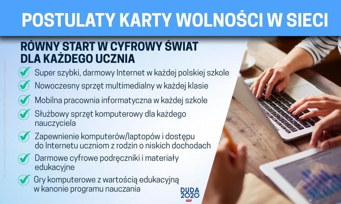 Karta Wolności w Sieci to nowy element programu Andrzeja Dudy