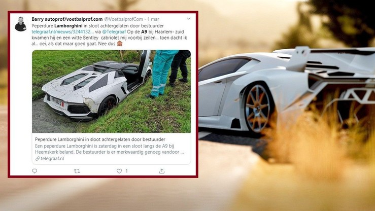 Lamborghini w rowie, a kierowcy brak. Auto usunięto, trwają poszukiwania szofera [WIDEO]