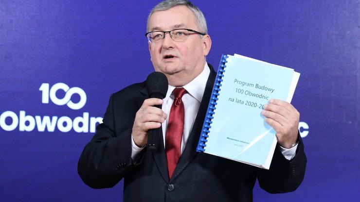 """Adamczyk:"""" rozpoczynamy realizację programu 100 obwodnic. Za około 28 mliliardów"""