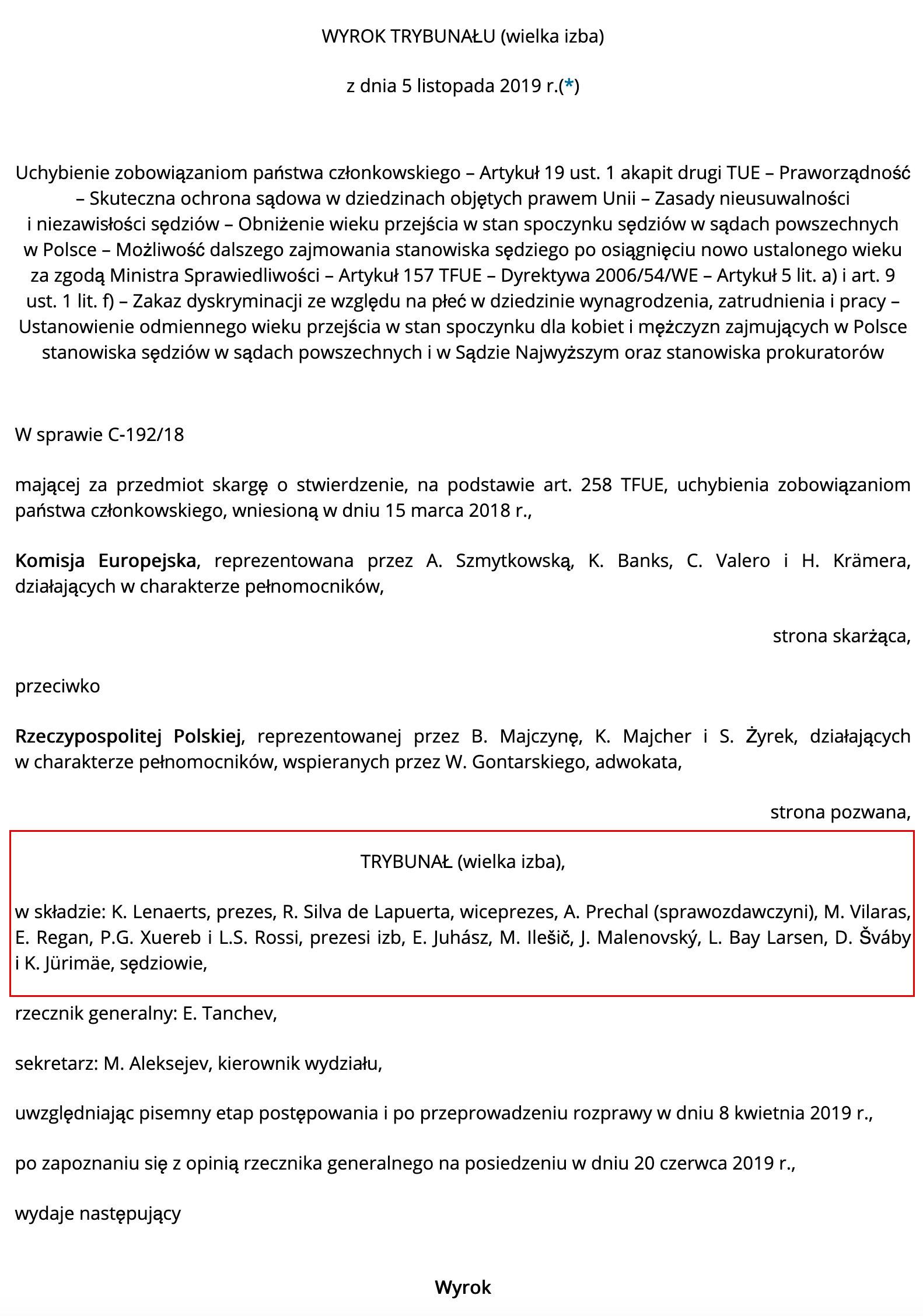 Skład orzekający TSUE w sprawie Polski
