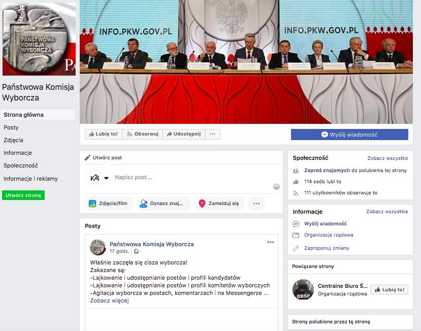 Zrzut ekranu fałszywej strony PKW na Facebooku
