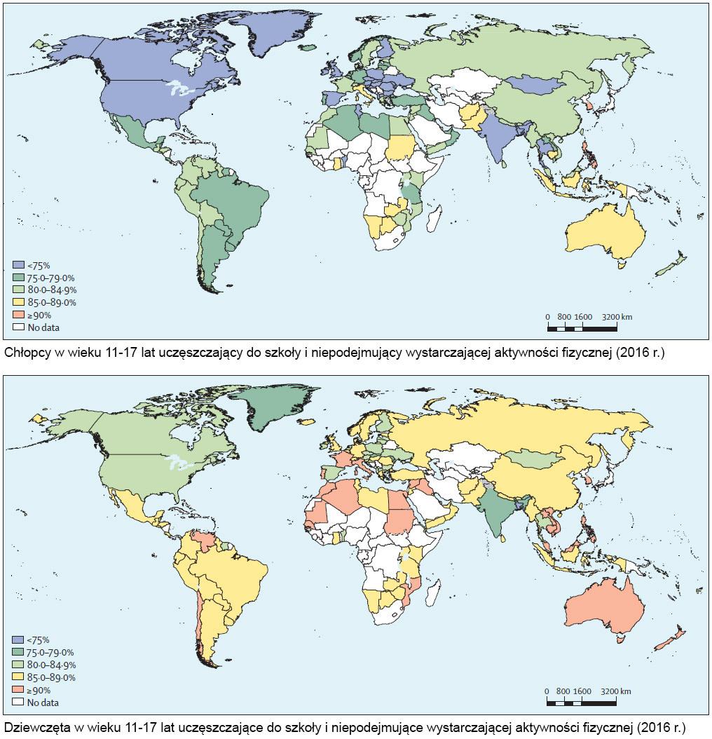 Badania wskazują na mniejszą aktywność fizyczną dziewcząt na całym świecie