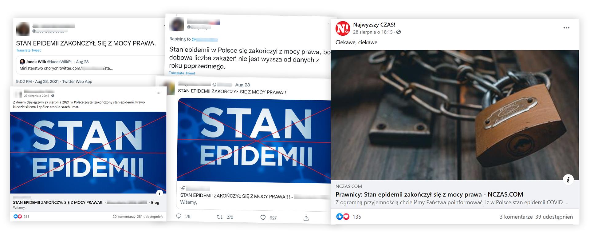 """Twierdzenie o tym, że """"stan epidemii zakończył się z mocy prawa"""" zdobywa popularność wśród internautów"""