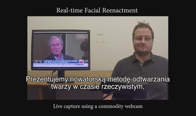 efekty narzędzia Face2Face, stworzonego przez naukowców