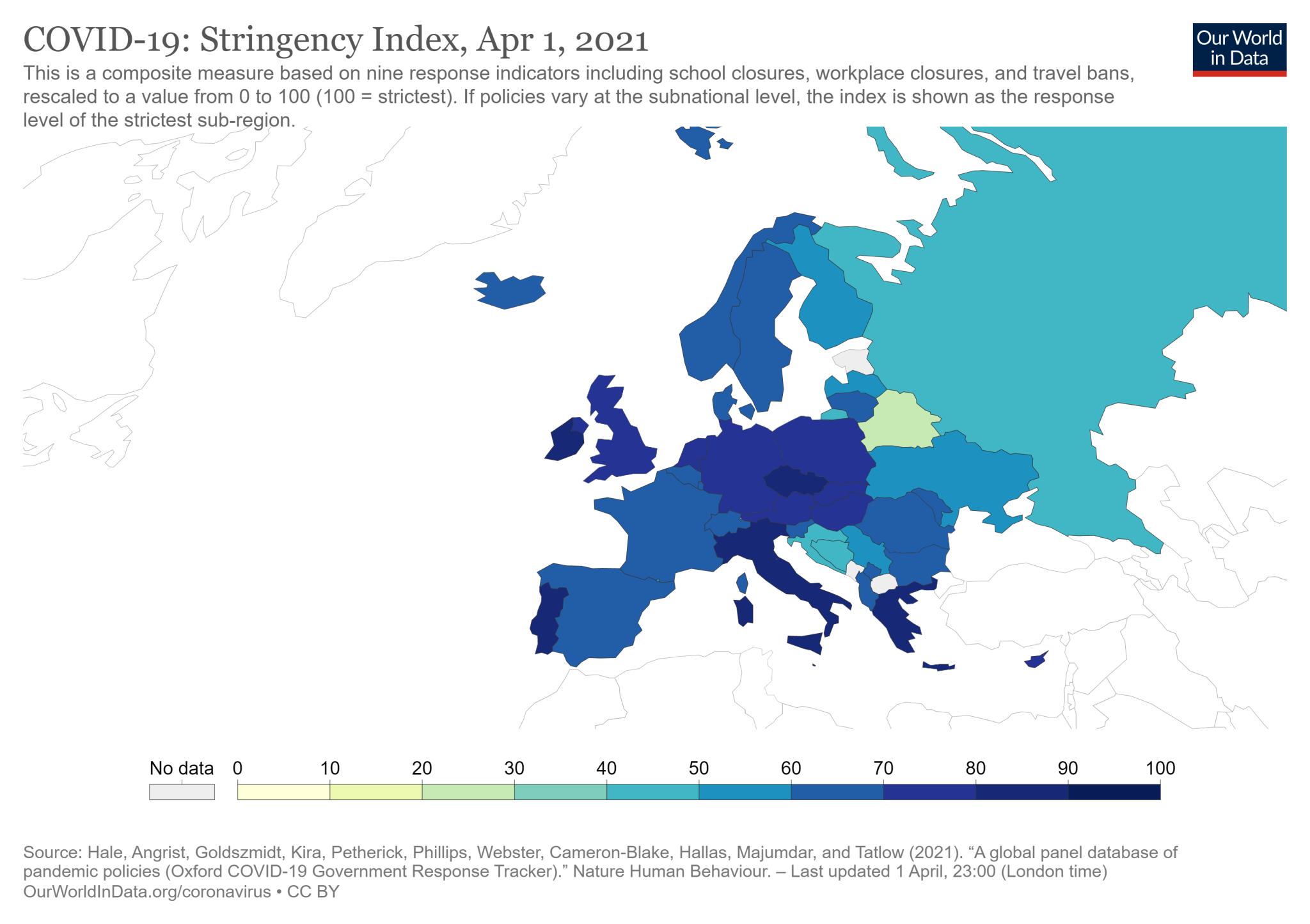 COVID-19: wskaźnik restrykcyjności w Europie (stan na 1 kwietnia 2021 roku)