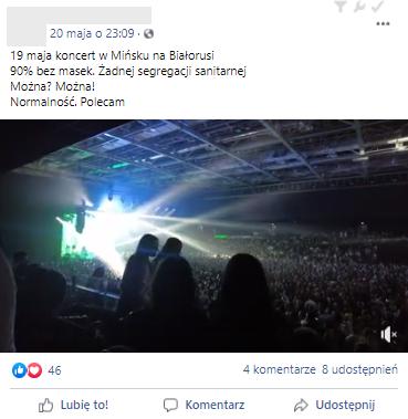 Internauta zamieścił na Facebooku wideo z koncertu w Mińsku