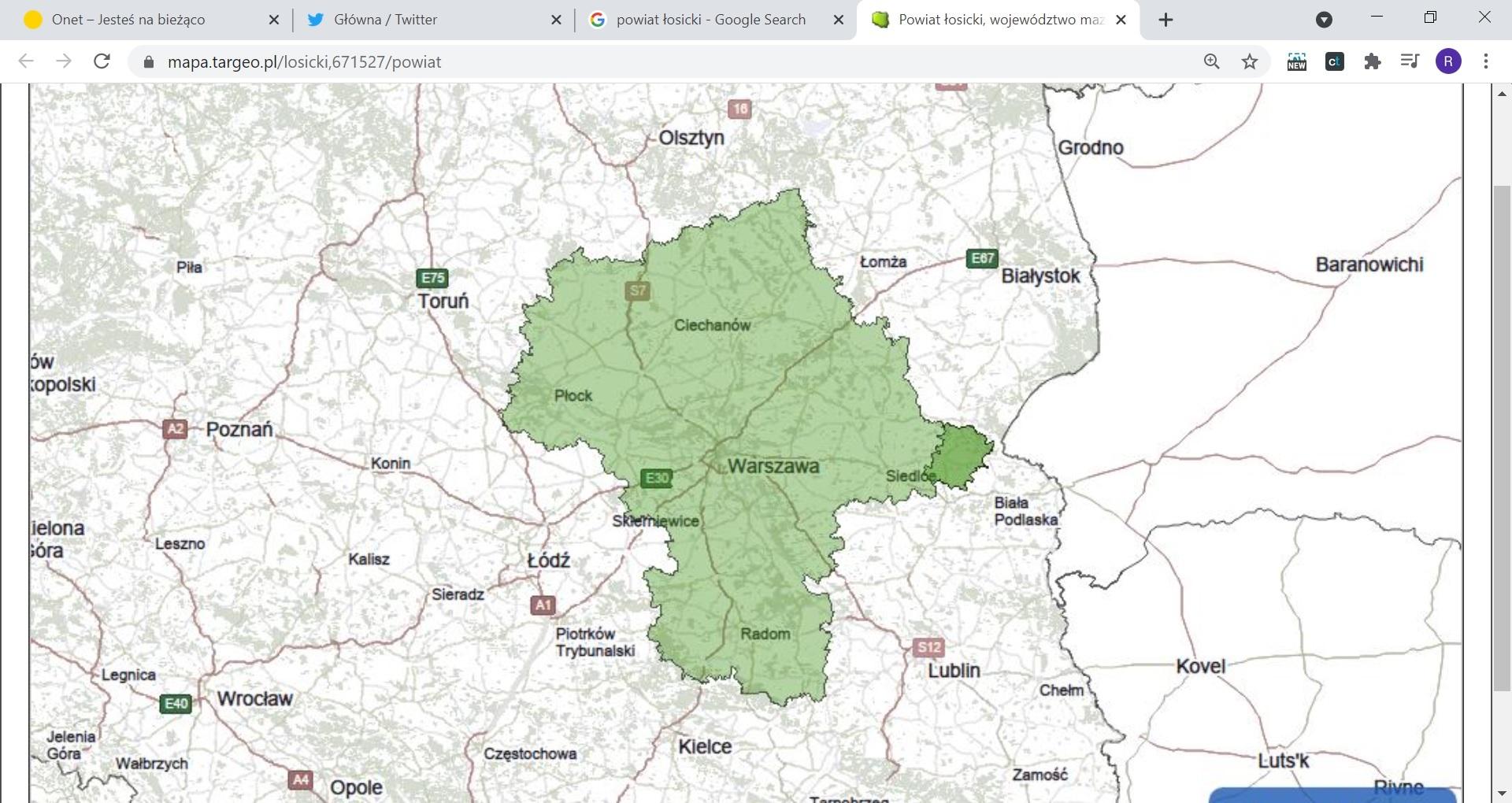 Najdalej wysunięty na wschód województwa mazowieckiego jest powiat łosicki