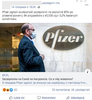 Internauta sugerował, że koncern Pfizer zmanipulował wyniki badań nad szczepionką