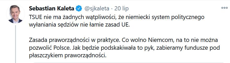 Wpis Sebastiana Kalety z 20 lipca 2020 roku