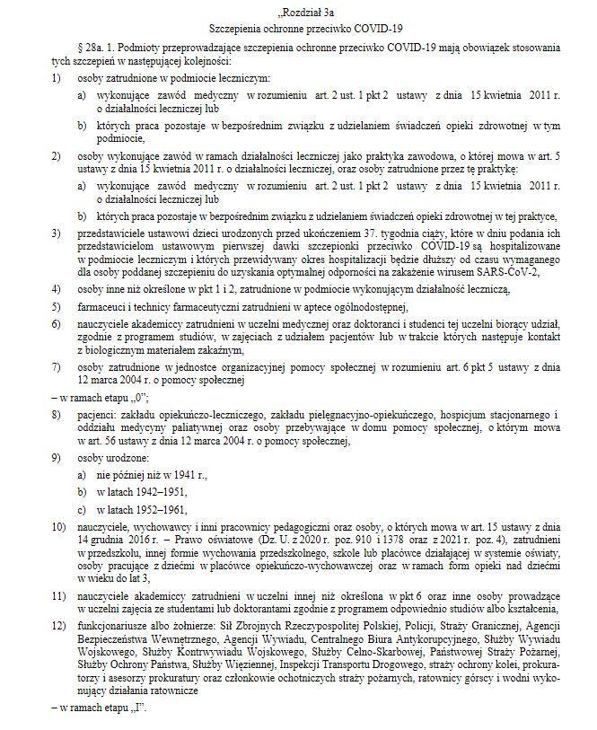 Wskazana kolejność grup do szczepień na COVID-19 w rozporządzeniu z 14 stycznia 2021 roku