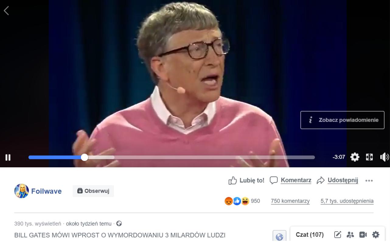 Wpis na Facebooku, w którym zamieszczono film z wprowadzającym w błąd tłumaczeniem