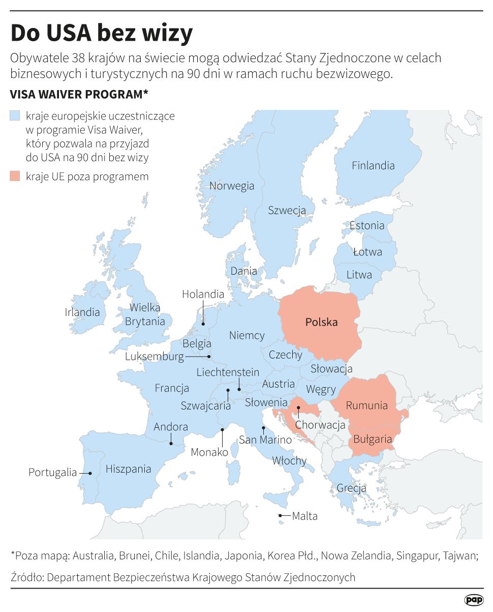 Obywatele większości krajów europejskich podróżują do USA bez wiz