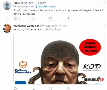 Komentarze pod wpisem Marka Jakubiaka na Twitterze