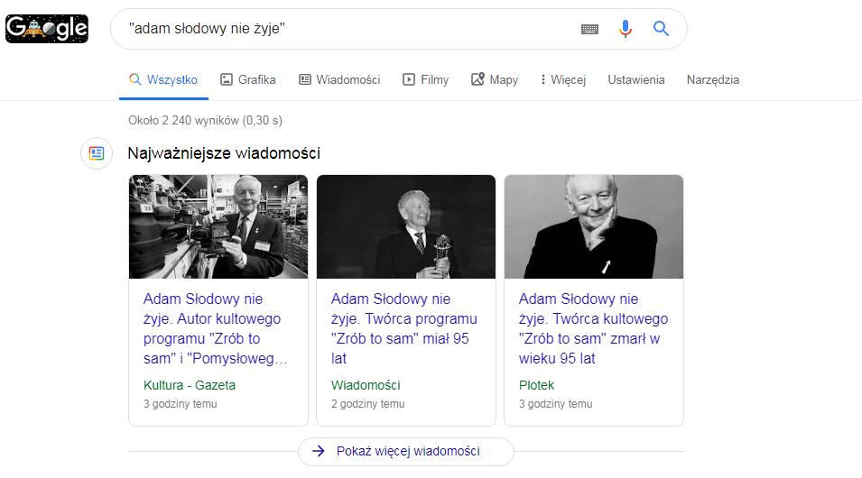O rzekomej śmierci Adama Słodowego napisało  wiele mediów