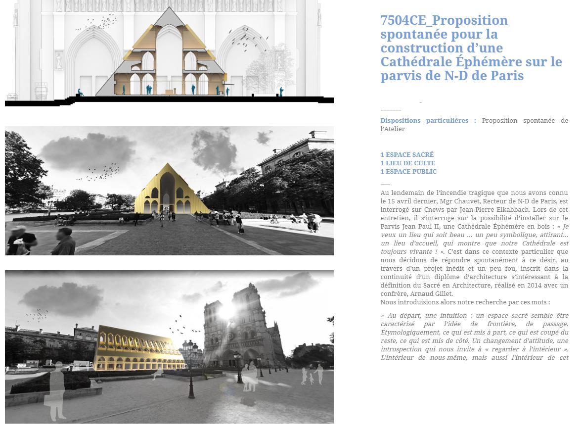 Tymczasowa katedra na placu przed Notre Dame - projekt pracowni architektonicznej z Wersalu