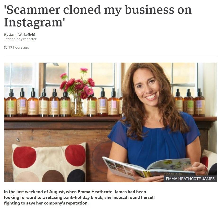Brytyjka Emma Heathcote-James opowiedziała BBC, jak ktoś sklonował na Instagramie profil jej firmy