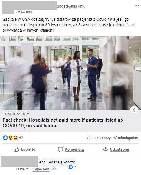 Wpis ze wprowadzającymi w błąd informacjami o finansowaniu leczenia w Stanach Zjednoczonych