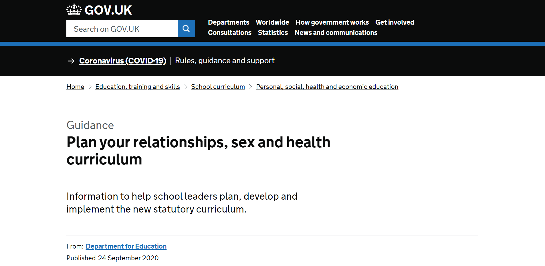 """Wytyczne brytyjskiego Departamentu Edukacji: """"Zaplanuj swój program nauczania o związkach, seksie i zdrowiu"""""""