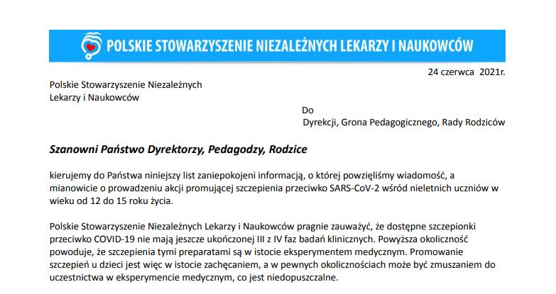 Fragment listu Polskiego Stowarzyszenia Niezależnych Lekarzy i Naukowców