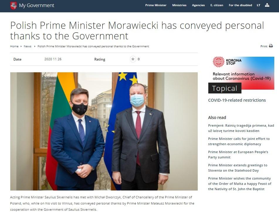 Relacja na oficjalnej stronie litewskiego rządu o wizycie ministra Dworczyka