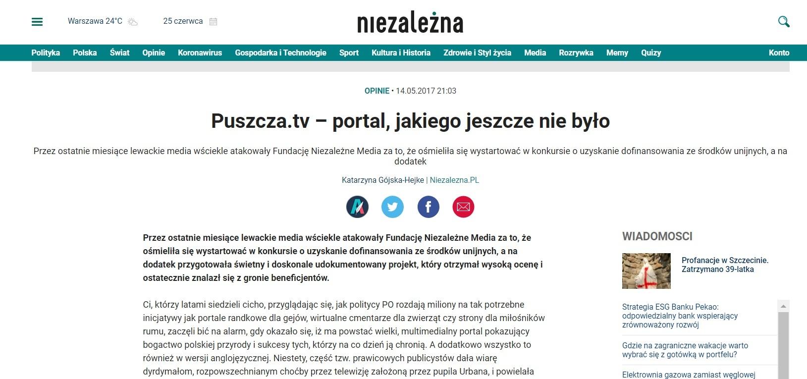 Tekst Katarzyny Gójskiej-Hejke na portalu Niezależna.pl zapowiadający projekt Puszcza.tv