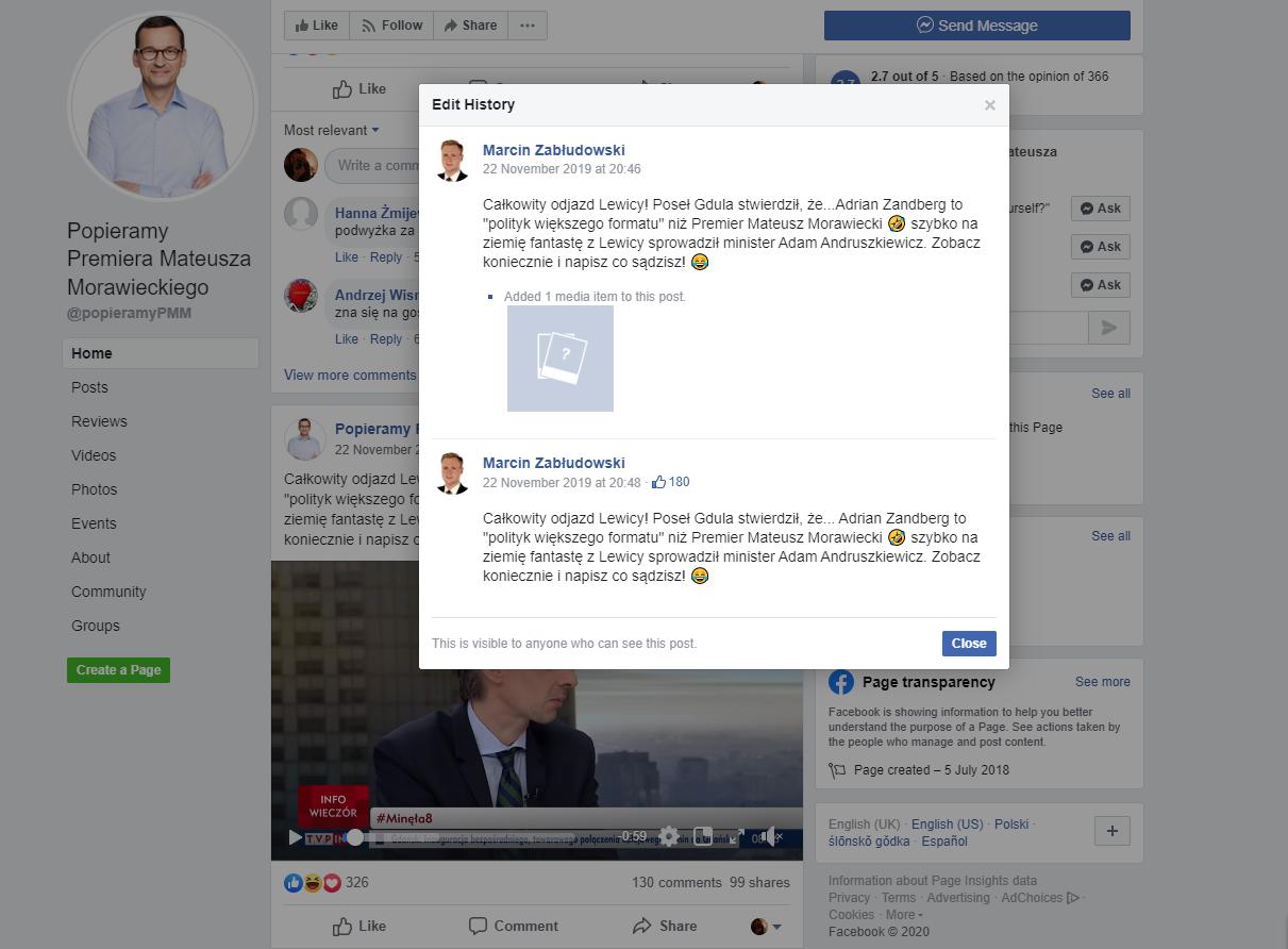 22 listopada 2019 konto o nazwie Marcin Zabłudowski edytowało wpis na stronie Popieramy Premiera Mateusza Morawieckiego na Facebooku.