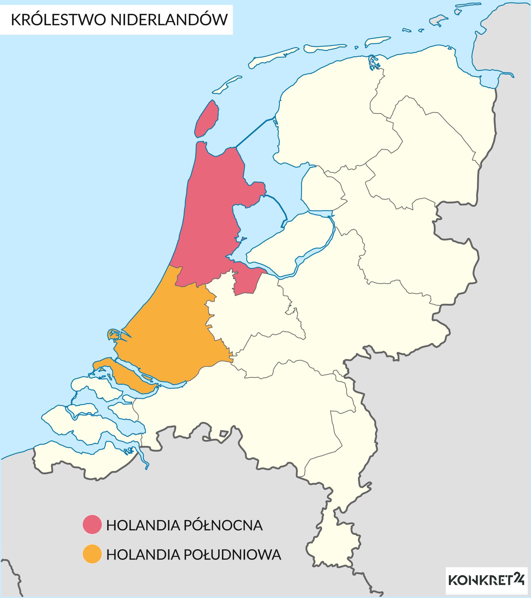 "Prowincje historycznej krainy ""Holandii"" na obecnej mapie kraju"
