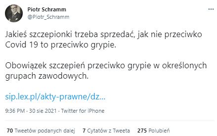 Post na Twitterze wprowadzający w błąd