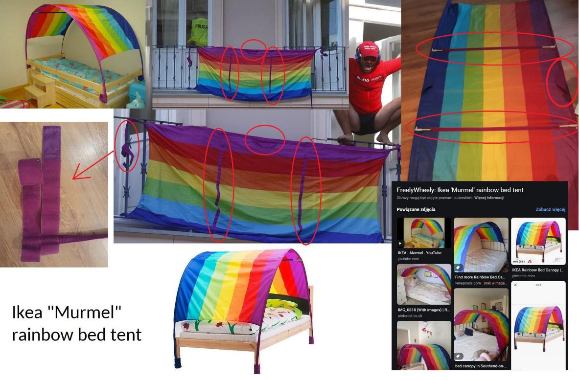 Wskazane przez internautę elementy mają dowodzić, że na balkonie wisiał baldachim dla dzieci a nie flaga LGBT
