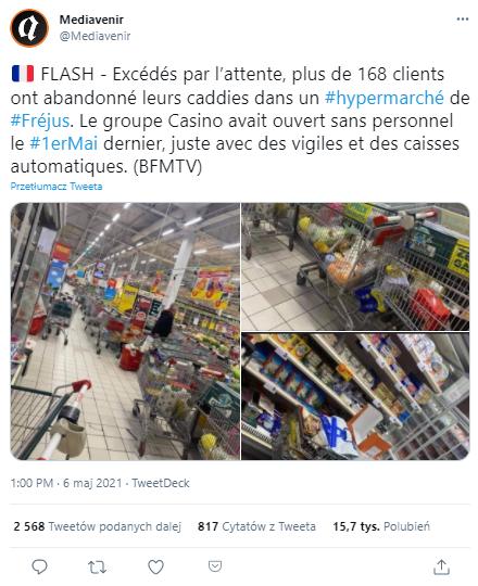 Wpis opublikowany 6 maja na jednym z francuskojęzycznych profili na Twitterze