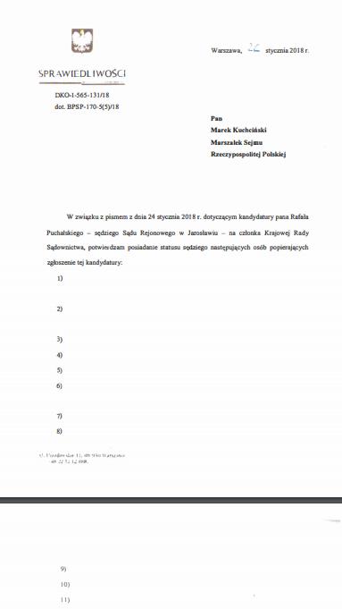 Fragment dokumentu przesłanego przez ministerstwo sprawiedliwości Patrykowi Wachowcowi