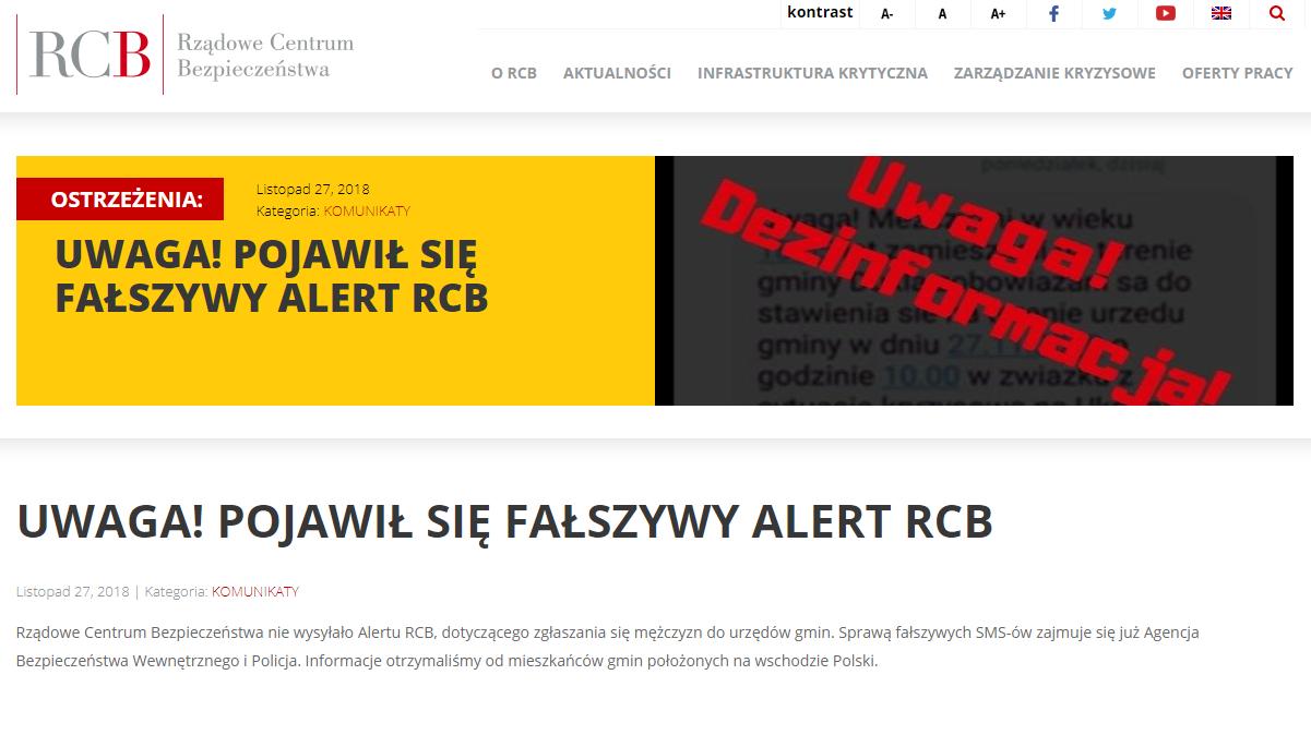 RCB ostrzega przed nieprawdziwymi informacjami