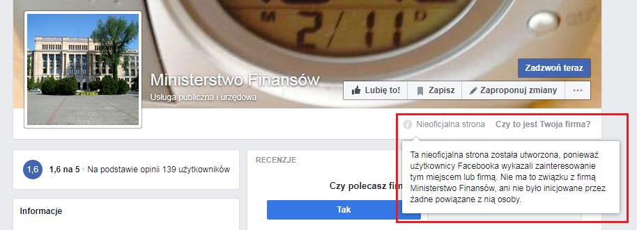 """""""Nieoficjalna strona"""" Ministerstwa Finansów wraz z adnotacją"""