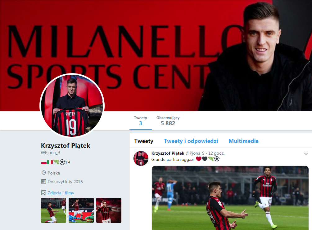 Fałszywy profil polskiego napastnika na Twitterze