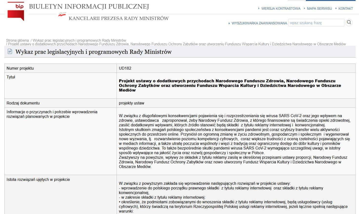 Projekt ustawy z planami składki od reklamy widnieje w wykazie prac legislacyjnych rządu