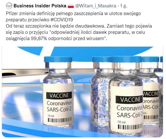 Tweet na koncie podszywającym się pod profil Business Insider Polska