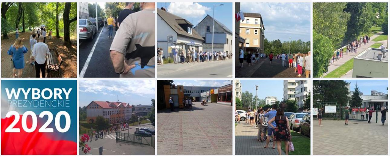 Zdjęcia kolejek do lokali wyborczych udostępniano na Facebooku