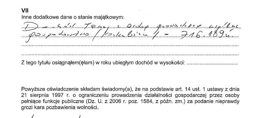 Fragment oświadczenia majątkowego wiceszefa szefa CBA Grzegorza Ocieczki
